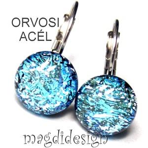 Kék szikrázás üvegékszer kapcsos fülbevaló ORVOSI ACÉL, Ékszer, Fülbevaló, Lógós fülbevaló, Ékszerkészítés, Üvegművészet, Óriási színválaszték kapcsos és stiftes fülbevalókból boltomban!!!   \n Csillogó, kék dichroic ékszer..., Meska