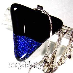 AKCIÓ! Fekete-kék szögek üvegékszer nyaklánc, Ékszer, Nyaklánc, Medálos nyaklánc, Ékszerkészítés, Üvegművészet, Meska