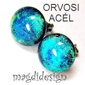 Selyem kék-zöld üvegékszer pötty fülbevaló , Ékszer, Fülbevaló, Pötty fülbevaló, Ékszerkészítés, Üvegművészet, Színjátszó kék-zöld, kissé mintás dichroic ékszerüveg felhasználásával készült a stiftes fülbevaló, ..., Meska