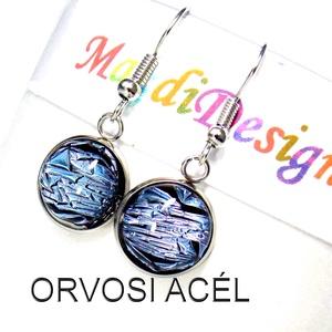 Kék csillogás üvegékszer fülbevaló ORVOSI ACÉL, Ékszer, Fülbevaló, Lógós kerek fülbevaló, Ékszerkészítés, Üvegművészet, Csillogó kék dichroic ékszerüveg felhasználásával készült a fülbevaló, olvasztásos technikával.  A l..., Meska