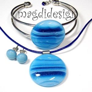 Csillámporos kék tenger üvegékszer szett, nyaklánc, karkötő, fülbevaló , Ékszerszett, Ékszer, Ékszerkészítés, Üvegművészet, AKCIÓ! HÁRMAT FIZET NÉGYET VIHET!! HÁROM ÉKSZERSZETT VÁSÁRLÁSA UTÁN EGY SZETTET AJÁNDÉKBA KÜLDÖK.! M..., Meska