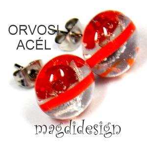 Piros csíkos üvegékszer stiftes fülbevaló ORVOSI ACÉL, Ékszer, Fülbevaló, Pötty fülbevaló, Ékszerkészítés, Üvegművészet,  Áttetsző piros csíkos ékszerüveg felhasználásával készült a stiftes fülbevaló, olvasztásos techniká..., Meska
