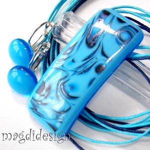 Két-kék üvegékszer szett nyaklánc, kapcsos fülbevaló, Ékszer, Ékszerszett, Ékszerkészítés, Üvegművészet, AKCIÓ! HÁRMAT FIZET NÉGYET VIHET!! HÁROM ÉKSZERSZETT VÁSÁRLÁSA UTÁN EGY SZETTET AJÁNDÉKBA KÜLDÖK. Át..., Meska