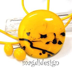 Sárga fekete mintás üvegékszer szett, nyaklánc, pötty fülbevaló , Ékszer, Ékszerszett, Ékszerkészítés, Üvegművészet, Meska
