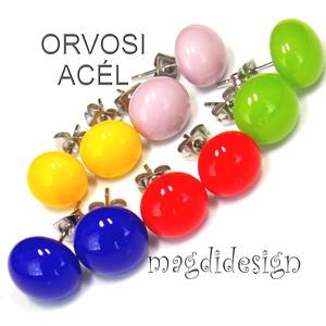 590-Ft/pár.Tavasz-nyár 5 pár üveg fülbevaló csomagban ORVOSI ACÉL, Ékszer, Fülbevaló, Pötty fülbevaló, Ékszerkészítés, Üvegművészet, Sárga, piros, kék, zöld, lila ékszerüveg felhasználásával készült az 5 pár pötty fülbevaló, olvasztá..., Meska