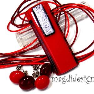 Ezüstös rubin-piros üvegékszer szett, nyaklánc, 2 pár stiftes fülbevaló , Ékszer, Ékszerszett, Ékszerkészítés, Üvegművészet, AKCIÓ! HÁRMAT FIZET NÉGYET VIHET!! HÁROM ÉKSZERSZETT VÁSÁRLÁSA UTÁN EGY SZETTET AJÁNDÉKBA KÜLDÖK. Ez..., Meska