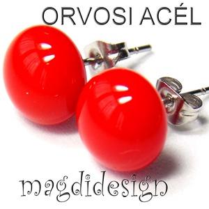 Cseresznyepiros üvegékszer pötty fülbevaló ORVOSI ACÉL, Ékszer, Fülbevaló, Pötty fülbevaló, Ékszerkészítés, Üvegművészet, Cseresznyepiros ékszerüveg felhasználásával készült a stiftes fülbevaló, olvasztásos technikával. A ..., Meska