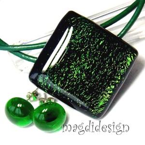 AKCIÓ! Zöld színjáték üvegékszer szett, nyaklánc, pötty fülbevaló - Meska.hu