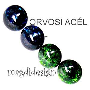 Kék, zöld, aventurin üvegékszer, 2 pár, stiftes fülbevaló ORVOSI ACÉL, Ékszer, Fülbevaló, Pötty fülbevaló, Ékszerkészítés, Üvegművészet, Csillogó kék és zöld aventurin ékszerüveg felhasználásával készült a két pár stiftes fülbevaló, olva..., Meska