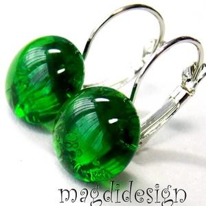 MAXI Smaragdzöld üvegékszer kapcsos fülbevaló, Ékszer, Fülbevaló, Lógós kerek fülbevaló, Ékszerkészítés, Üvegművészet, Meska