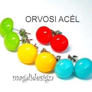 590-Ft/pár. Tavasz-nyár 4 pár üveg fülbevaló csomagban ORVOSI ACÉL, Ékszer, Fülbevaló, Pötty fülbevaló, Ékszerkészítés, Üvegművészet, Sárga, piros, kék, zöld ékszerüveg felhasználásával készült a 4 pár pötty fülbevaló, olvasztásos tec..., Meska