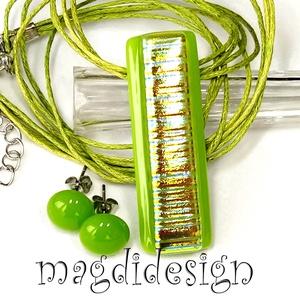 Aranyló zöld csillogás üvegékszer szett, nyaklánc, stiftes fülbevaló, Ékszer, Ékszerszett, Ékszerkészítés, Üvegművészet, AKCIÓ! HÁRMAT FIZET NÉGYET VIHET!! HÁROM ÉKSZERSZETT VÁSÁRLÁSA UTÁN EGY SZETTET AJÁNDÉKBA KÜLDÖK. El..., Meska