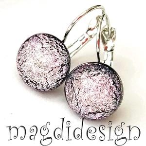 MAXI Rózsaszín dichroic üvegékszer kapcsos fülbevaló, Ékszer, Fülbevaló, Lógós kerek fülbevaló, Ékszerkészítés, Üvegművészet, Meska