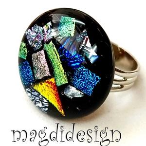 Maxi üvegbe zárt csillogás üvegékszer gyűrű, Ékszer, Gyűrű, Statement gyűrű, Ékszerkészítés, Üvegművészet, Meska