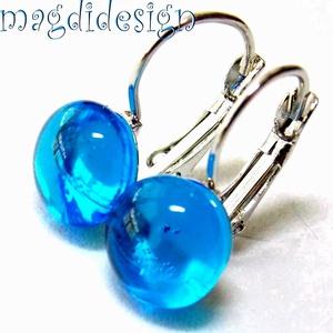 ORVOSI ACÉL Égszínkék üvegékszer kapcsos fülbevaló, Ékszer, Fülbevaló, Lógó fülbevaló, Ékszerkészítés, Üvegművészet,  Égszínkék, áttetsző ékszerüveg felhasználásával készült a  kapcsos fülbevaló üvegrésze, olvasztásos..., Meska