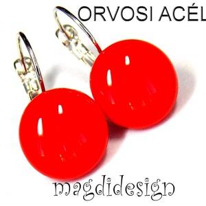 Cseresznyepiros üvegékszer kapcsos fülbevaló ORVOSI ACÉL, Ékszer, Fülbevaló, Lógós kerek fülbevaló, Ékszerkészítés, Üvegművészet, Piros ékszerüveg felhasználásával készült a kapcsos fülbevaló, olvasztásos technikával. Az üvegrész ..., Meska