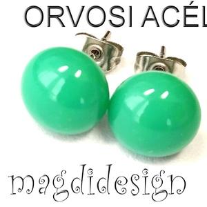 Benetton zöld üvegékszer pötty fülbevaló ORVOSI ACÉL, Ékszer, Fülbevaló, Pötty fülbevaló, Üvegművészet, Ékszerkészítés, Benetton zöld ékszerüveg felhasználásával készült a stiftes fülbevaló fusing technikával. Az üveg át..., Meska