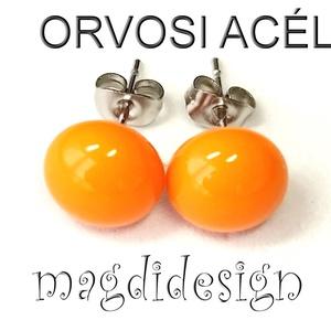 Narancs üvegékszer pötty fülbevaló ORVOSI ACÉL, Ékszer, Fülbevaló, Pötty fülbevaló, Üvegművészet, Ékszerkészítés, Narancs ékszerüveg felhasználásával készült a stiftes fülbevaló fusing technikával. Az üveg átmérője..., Meska
