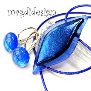 Selyemfényű kék levél üvegékszer szett, nyaklánc, maxi kapcsos fülbevaló, Ékszer, Ékszerszett, Ékszerkészítés, Üvegművészet, Meska