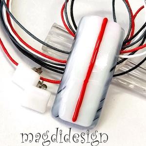 Piros línea üvegékszer szett nyaklánc, pötty fülbevaló 1, Ékszer, Ékszerszett, Ékszerkészítés, Üvegművészet, Meska