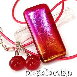 Rubin-arany eozin üvegékszer szett nyaklánc, kapcsos fülbevaló 1, Ékszer, Ékszerszett, Ékszerkészítés, Üvegművészet, Csillogó, arany-pink-lila-rubin, színjátszó, csillogó, színátmenetes ékszerüveg felhasználásával kés..., Meska
