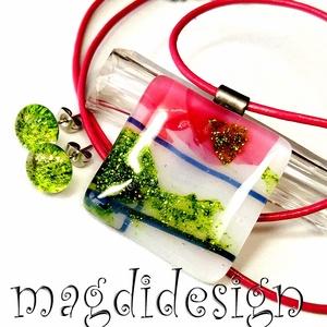 Rózsás bokor üvegékszer szett nyaklánc, stiftes fülbevaló, Ékszer, Ékszerszett, Ékszerkészítés, Üvegművészet, Meska
