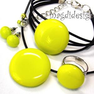 Neon zöld üvegékszer szett nyaklánc, karkötő, gyűrű, stiftes fülbevaló, Ékszer, Ékszerszett, Ékszerkészítés, Üvegművészet, Meska