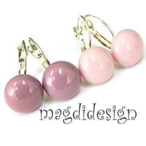 Pasztell lilás rózsaszín lilával üvegékszer kapcsos fülbevaló 2 pár, Ékszer, Ékszerszett, Ékszerkészítés, Üvegművészet, Pasztell, lilás rózsaszín és füstös lila ékszerüveg felhasználásával készült a két pár kapcsos fülbe..., Meska