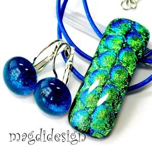 Türkiz-kék-zöld-arany buborékok üvegékszer szett nyaklánc kapcsos fülbevaló, Ékszer, Ékszerszett, Ékszerkészítés, Üvegművészet, Meska