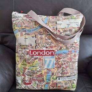London táska, DIY (Csináld magad), Varrás, Vastag vászon shopper, 35x38x6cm.Belül pöttyös vaszon bélés., Meska
