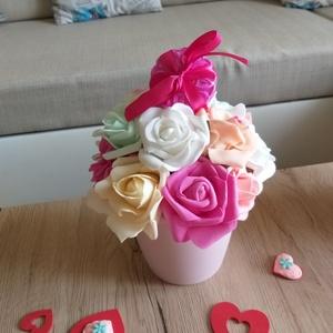 Fürdőbombás virágkosár- pasztell rózsaszín, Otthon & lakás, Dekoráció, Dísz, Ünnepi dekoráció, Anyák napja, Lakberendezés, Asztaldísz, Zsugorka,  minimál kedvelőinek kifejezetten kedves lesz ez az asztaldísz, melynek közepén egy fürdősó- virág h..., Meska