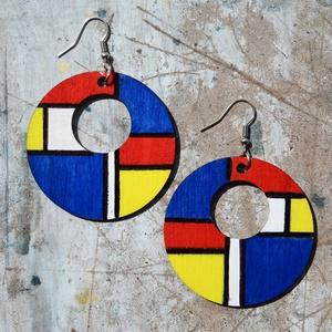 Homage to Mondrian, Ékszer, Fülbevaló, Lógós kerek fülbevaló, Festészet, Falapra, kézzel festett Piet Mondrian ihlette geometrikus minták, az általa is használt alapszínekke..., Meska