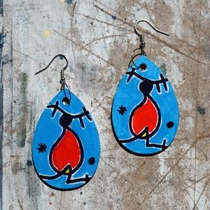 Homage to Miró, Ékszer, Fülbevaló, Lógós kerek fülbevaló, Festészet, Falapra, kézzel festett Miró egy képe ihlette absztrakt rajz, az általa oly kedvelt kék háttér színn..., Meska