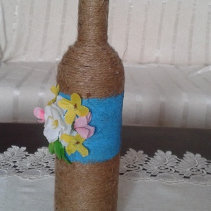 Virágos üveg dekoráció - Anyáknapjára - Meska.hu