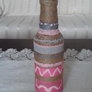 Festett üveg dekoráció - kisméretű - Anyáknapjára, Otthon & Lakás, Üveg & Kancsó, Konyhafelszerelés, Újrahasznosított üvegből készült, spárgával, festéssel díszítve. Vázának dekorációnak vagy ajándékna..., Meska