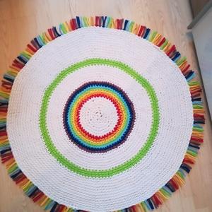 Csakra horgolt szőnyeg, Otthon & Lakás, Lakástextil, Szőnyeg, Horgolás, A hét csakra színeiből készült szőnyeget kiváló minőségű pólófonalból horgoltam.\nMérete: 110 cm átmé..., Meska