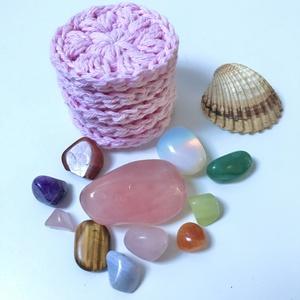 Horgolt arctisztító korong garnitúra, rózsaszín, Szépségápolás, Arcápolás, Arctisztító korong, Horgolás, Az arctisztító korongot kiváló minőségű pamutfonalból horgolom. Mérete 6-7 cm átmérő. Kézzel mosható..., Meska