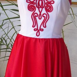 Piros- fehér menyecske, Menyecske ruha, Ruha, Esküvő, Varrás, Düseszből és szaténból alkottam ezt a különleges  körszoknyás ruhát.Puplin alsószoknyáját maderia cs..., Meska