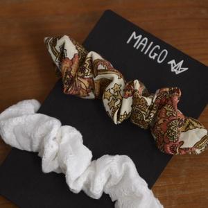 MAIGO hajgumik I., Ruha & Divat, Hajdísz & Hajcsat, Hajgumi, Varrás, Kétdarabos szett csodás mintájú scunchiekból, amik maradék újrahasznosított anyagokból készültek...., Meska