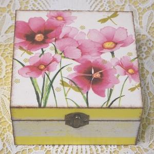 Pillangóvirággal díszített doboz, Otthon & Lakás, Díszdoboz, Dekoráció, Festett tárgyak, Decoupage, transzfer és szalvétatechnika, Meska