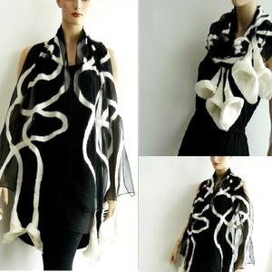 Nemez selyem sál fekete és fehér - különleges viselet (MajorLaura) - Meska.hu