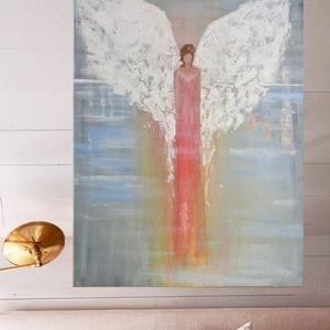 Őrangyal Festmény 70cm x 50cm  vászonra, Akril, Festmény, Művészet, Festészet, Őrangyal. .. Akrillal festettem, feszített vászonra. \nKeretezést nem igényel.\nMérete: 50cm x 70 cm\n\n..., Meska