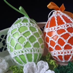 Horgolt Húsvéti tojások narancs és zöld színben, Otthon & lakás, Egyéb, Dekoráció, Ünnepi dekoráció, Húsvéti díszek, Horgolás, Narancs és világoszöld, 7 cm magas, műanyag tojásaimat,100% pamut fehér színű fonallal horgoltam kör..., Meska