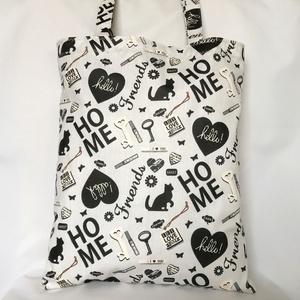 Cica Friends Home Szatyor, Shopper, textiltáska, szatyor, Bevásárlás & Shopper táska, Táska & Tok, Varrás, Vállon hordható, vintage hangulatú cicás szatyor, szürke alapszínnel fekete-fehér motívumokkal. Prak..., Meska