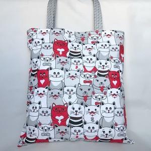 Happy Cicás Szatyor Piros, Shopper, textiltáska, szatyor, Bevásárlás & Shopper táska, Táska & Tok, Varrás, Csupa cica szatyor, sok-sok szívvel, kedves cicapofikkal. Nagyméretű, vállon hordható pamut szütyő, ..., Meska