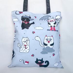 Gömböc Cicás Szatyor Szürke, Shopper, textiltáska, szatyor, Bevásárlás & Shopper táska, Táska & Tok, Varrás, Bűbájos szatyor pufók cicákkal, egerekkel, vidámsággal. Nagyméretű, vállon hordható pamut szütyő, bá..., Meska