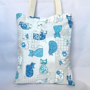 Kék Cicás Szatyor, Shopper, textiltáska, szatyor, Bevásárlás & Shopper táska, Táska & Tok, Varrás, Vállon hordható, strapabíró szatyor kék, kunkori farkú cicákkal. Vastagabb dekortextilből készítette..., Meska