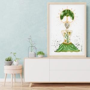 Művészi akvarell nyomat - Női sorozat - A béke imádsága, Otthon & lakás, Dekoráció, Képzőművészet, Festmény, Akvarell, Festészet, Művészi akvarell nyomat, kíváló minőségű akvarell papírra készül. Szeretném, ha egy-egy ilyen kép az..., Meska