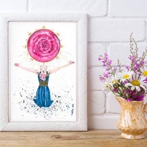 Művészi akvarell nyomat - Női sorozat - Imádság, Otthon & lakás, Képzőművészet, Festmény, Akvarell, Festészet, Művészi akvarell nyomat, kíváló minőségű akvarell bio papírra készül. Szeretném, ha egy-egy ilyen ké..., Meska