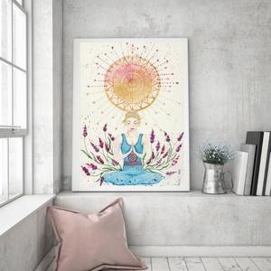 Művészi akvarell nyomat - Női sorozat - Elmélyülés, Művészet, Művészi nyomat, Művészi akvarell nyomat, kíváló minőségű akvarell bio papírra készül. Szeretném, ha egy-egy ilyen ké..., Meska